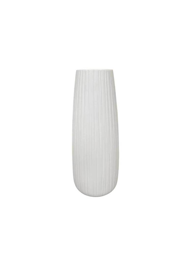 WHITE VASE WITH VERTICAL LINE DETAIL image 0
