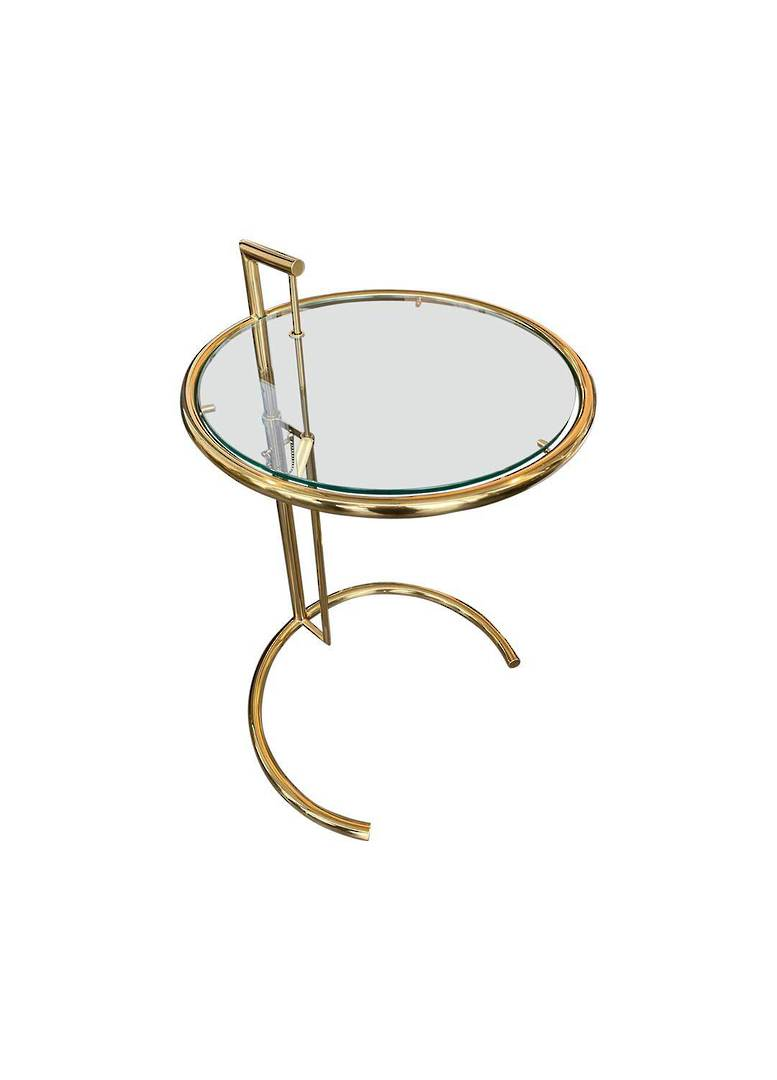 ADJUSTABLE ROUND SIDE TABLE GOLD image 0