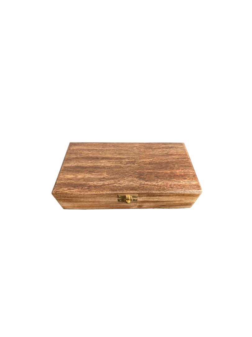 WOODEN GIFT BOX W/BRASS SET/3 CLOCK,COMPASS,SAND TIMER image 1