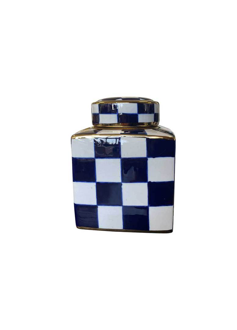 SET/2 CHECKED DESIGN VASES WITH LID image 3