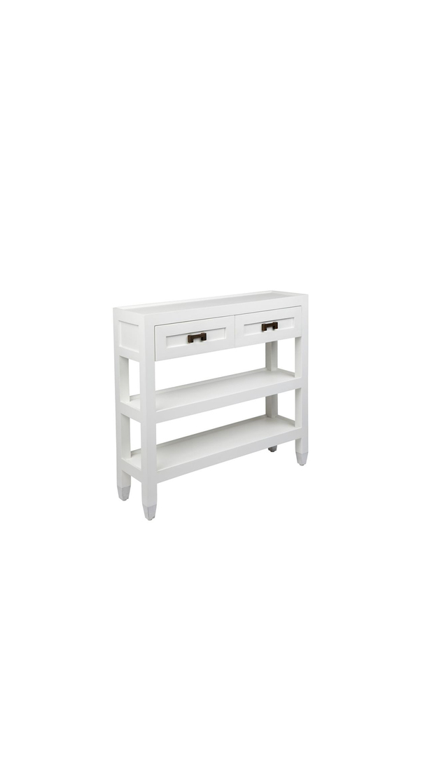 LEONARD ISLAND CONSOLE WITH BRASS HANDLES SHELVES, 2 DRAWERS image 1