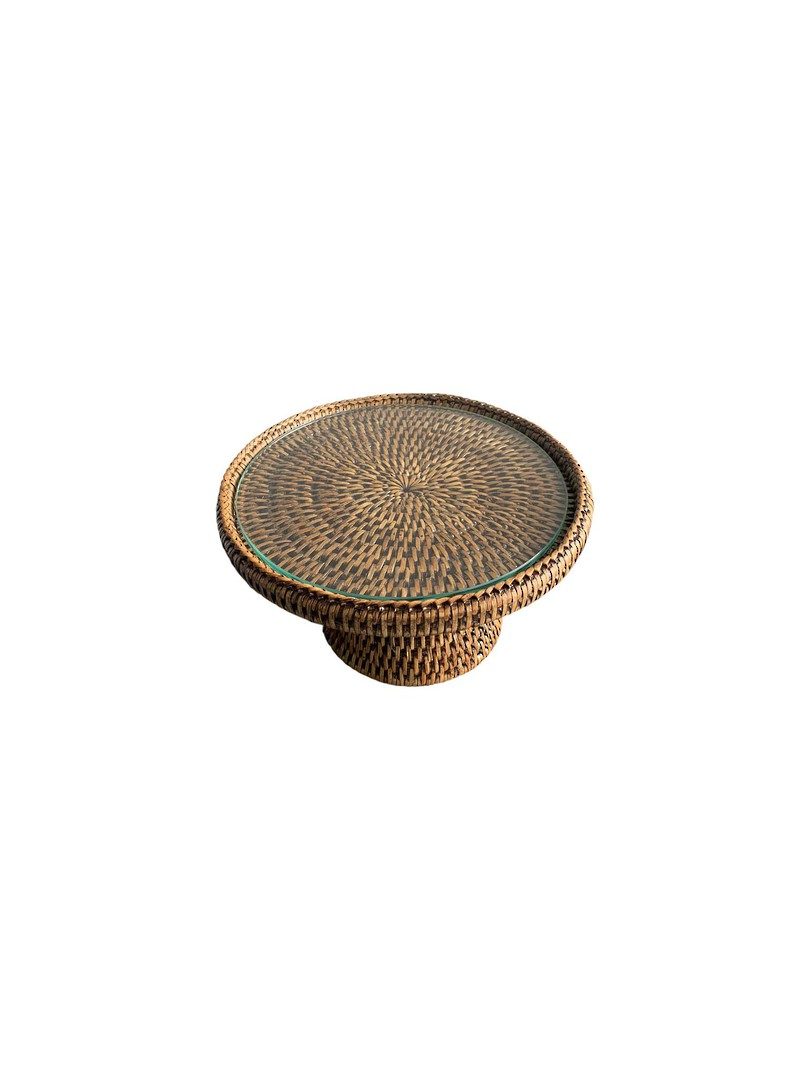 RATTAN STAND SMALL WITH GLASS PLATE image 1