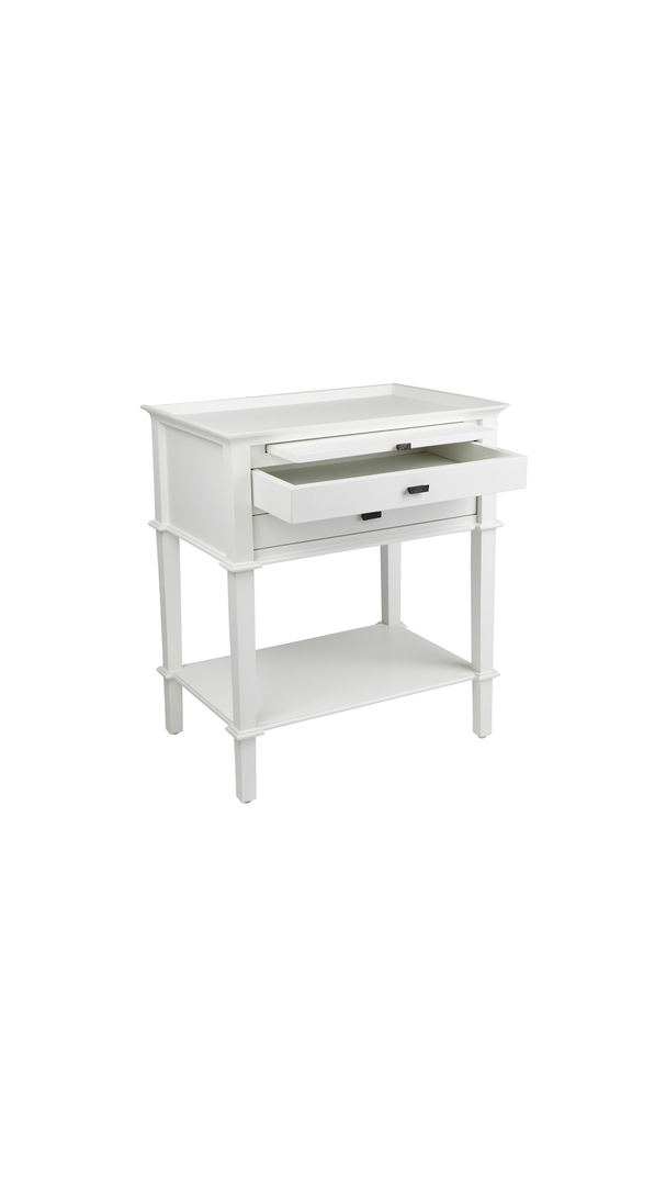 WELLESLEY SIDE TABLE WITH 2 DRAWERS WHITE image 1