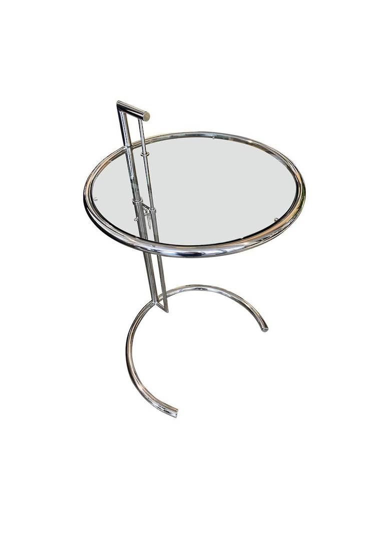 ADJUSTABLE ROUND SIDE TABLE SILVER image 0