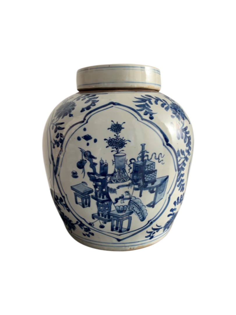 GINGER POT BLUE & WHITE VASE WITH BLOSSOM image 1