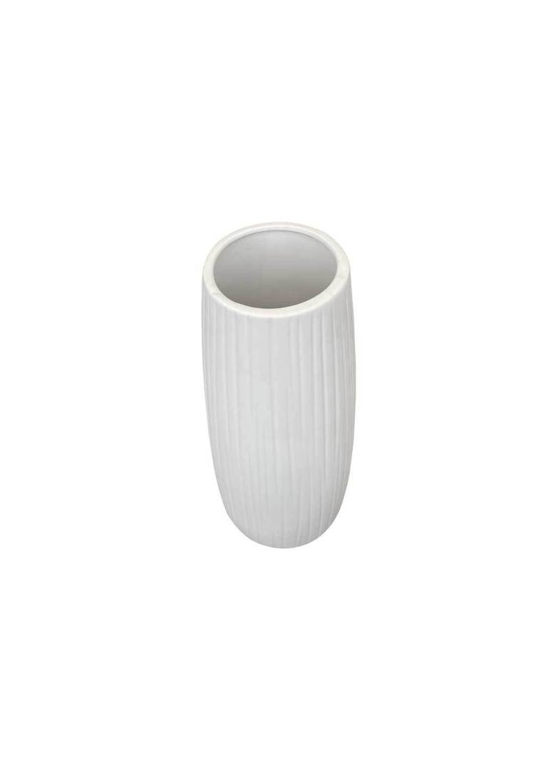 WHITE VASE WITH VERTICAL LINE DETAIL image 1