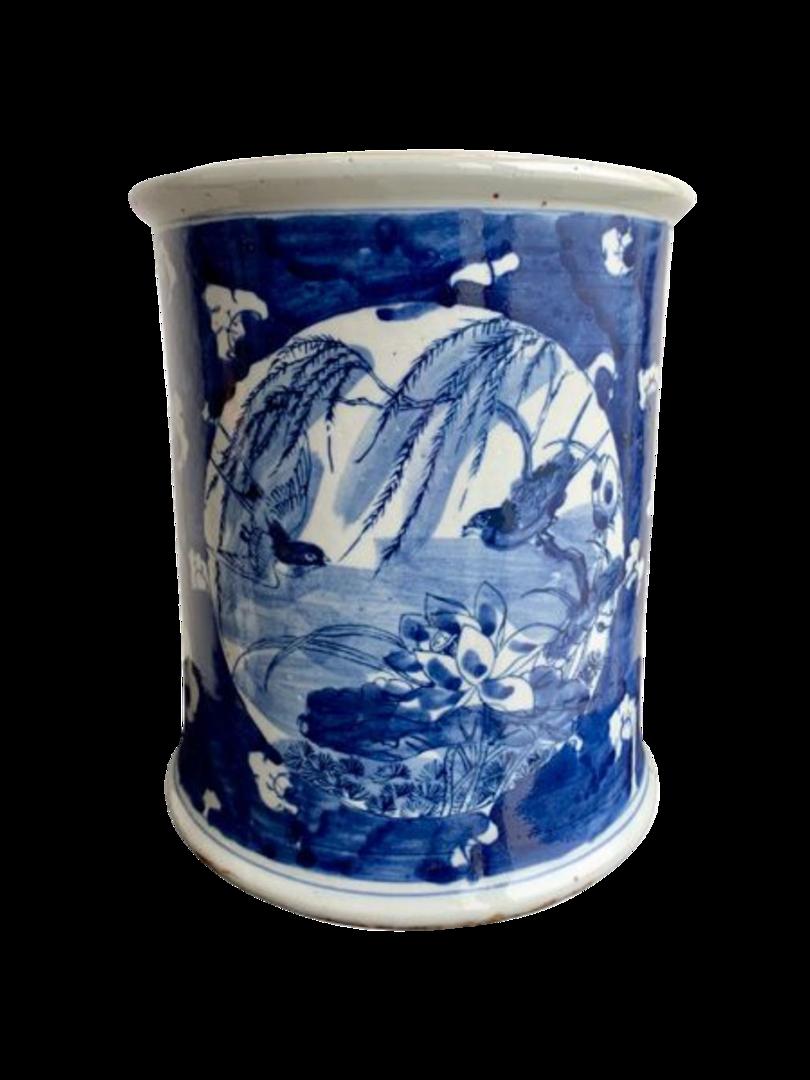 JAR WITH FLAT LID METAL RING BLUE & WHITE DUCKS image 1