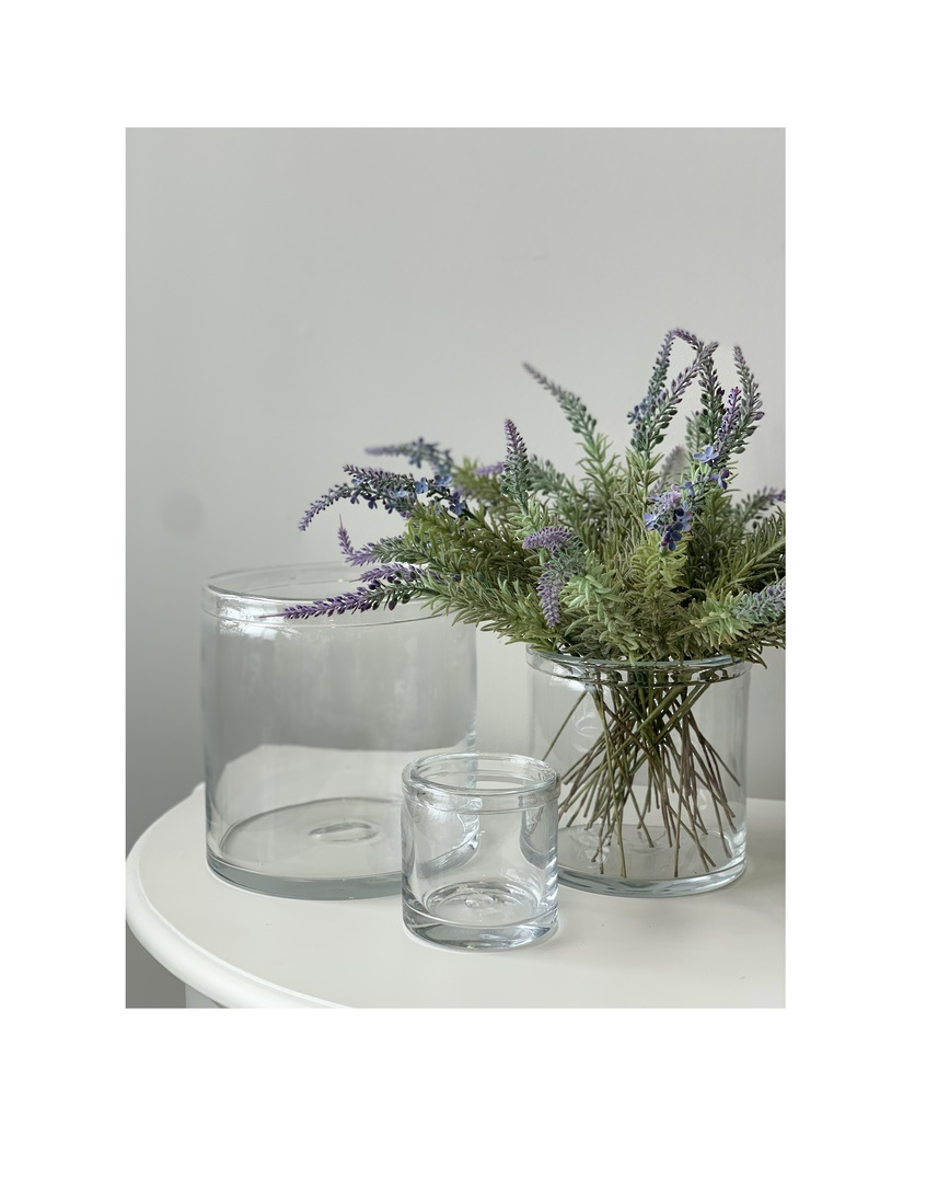 GLASS VASE WITH ROLLED RIM LGE - MIN 2 image 1