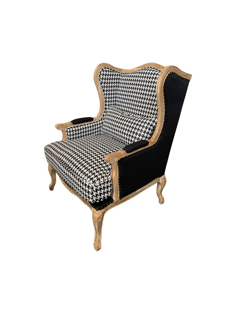 HOUNDSTOOTH BLACK & WHITE OCCASIONAL CHAIR image 1