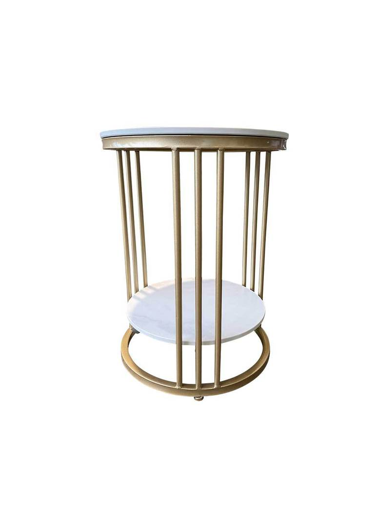 2 TIER ROUND MARBLE LOOK SIDE TABLE image 0
