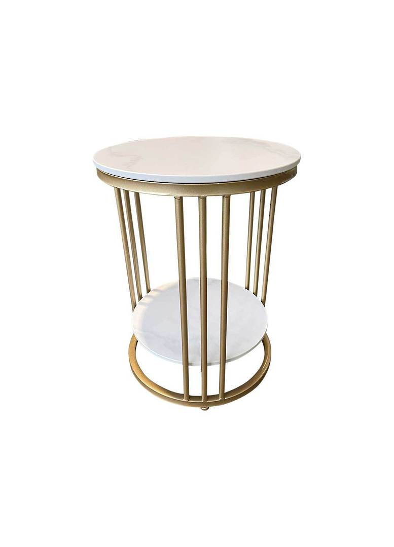 2 TIER ROUND MARBLE LOOK SIDE TABLE image 2