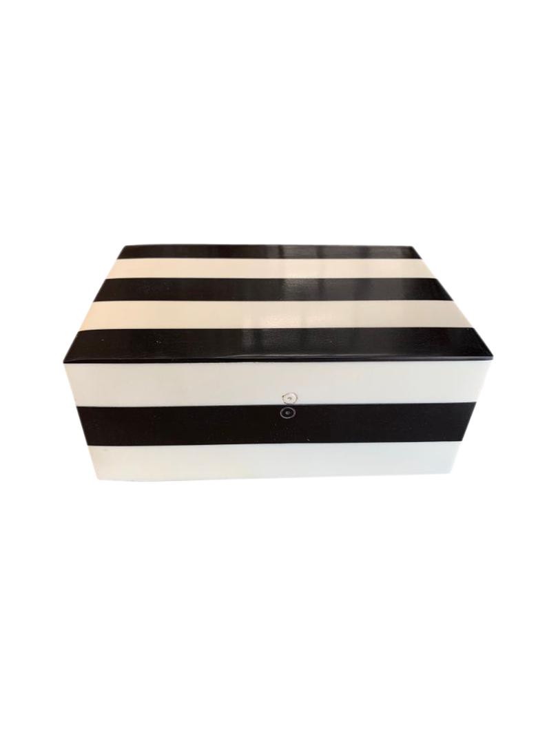 BLACK & WHITE STRIPE STORAGE BOX SML image 0