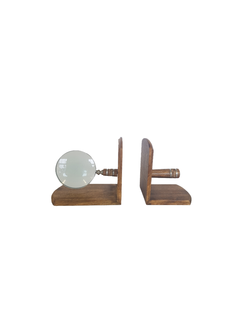 WOODEN/BRASS MAGNIFIER BOOKEND SET/2 image 0