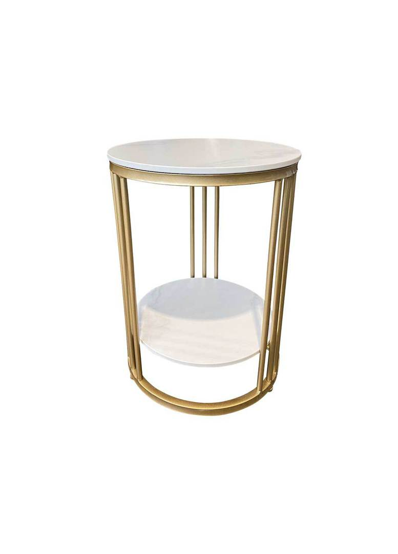 2 TIER ROUND MARBLE LOOK SIDE TABLE image 1