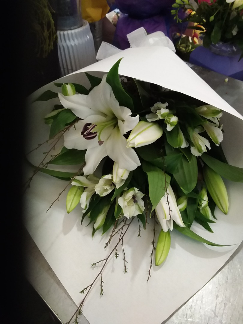 Simply White Lillies and White Alstrameria image 0