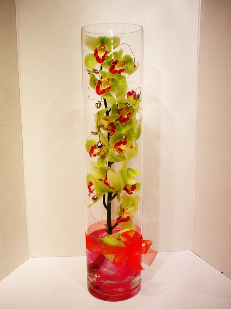 Orchids in glass cylinder image 0