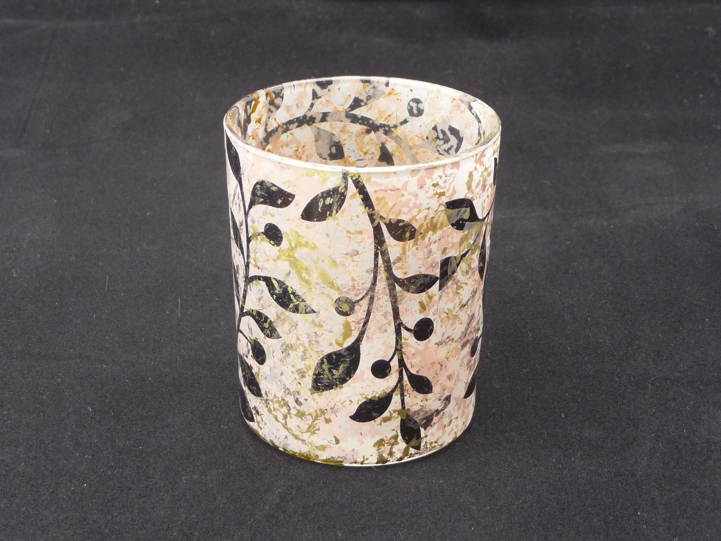 Leaf Design Small glass tea light holder image 0