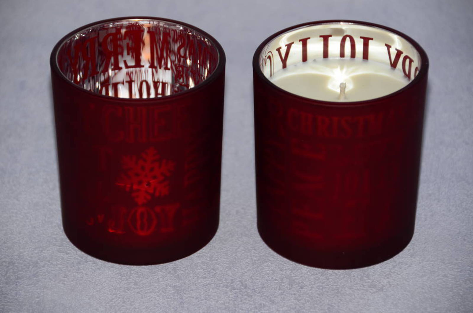 Red  Glass Soy Candle, Christmas Fragrance image 0