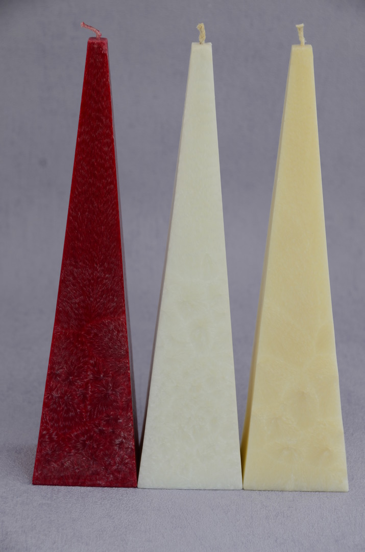 Medium, Red, Cranberry Fragrance Pyramid Candles, boxed. Red. image 0