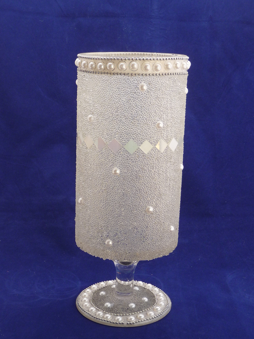 Mosaic pearl glass candle holder image 0