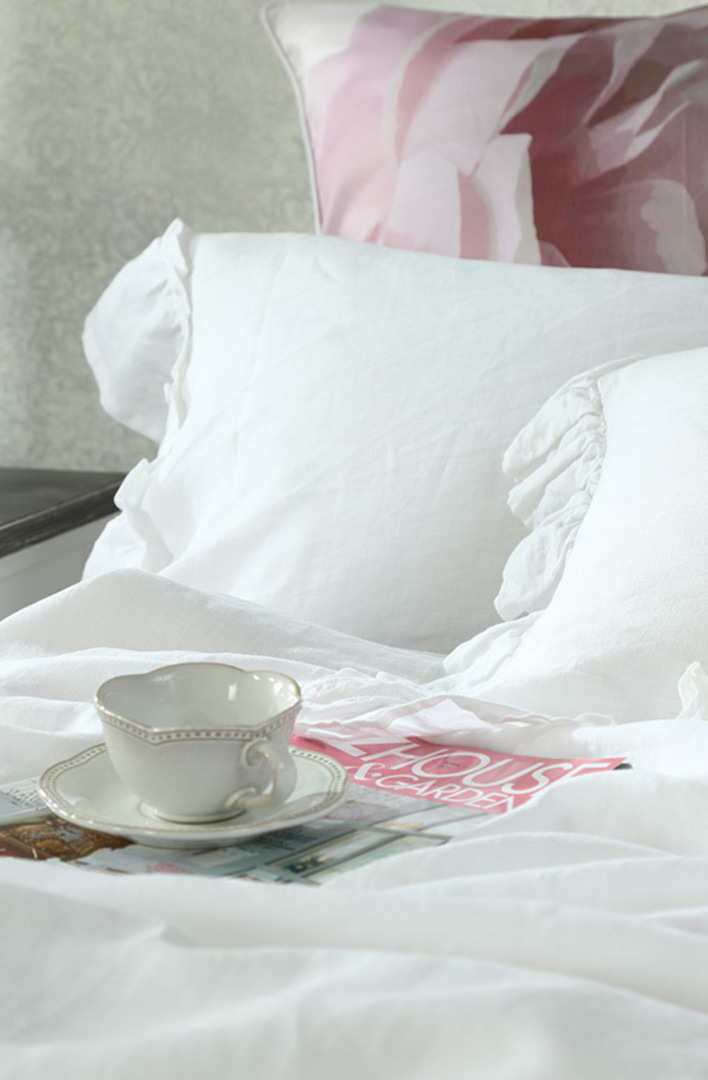 MM Linen - Laundered Linen Duvet Cover Set -  Frill White image 1
