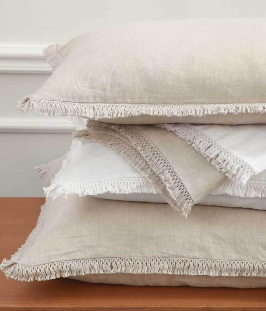 MM Linen - Laundered Linen - Tassel Eurocases - Natural image 0