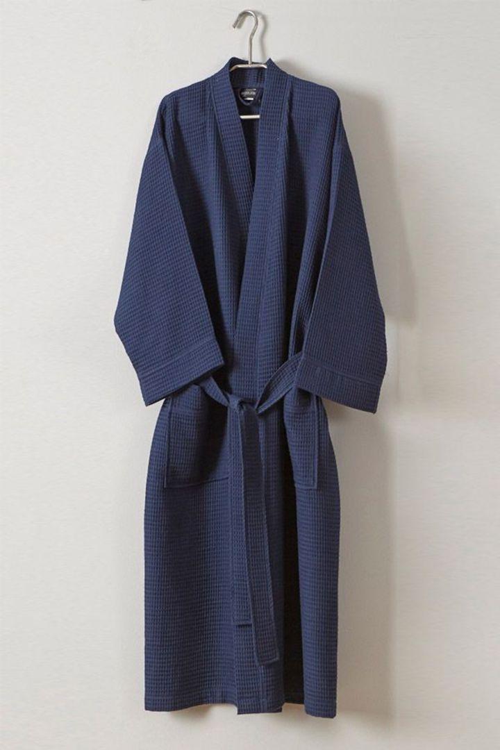 Baksana  - Unisex 50-50 Waffle Kimono Style Robe - Navy image 0