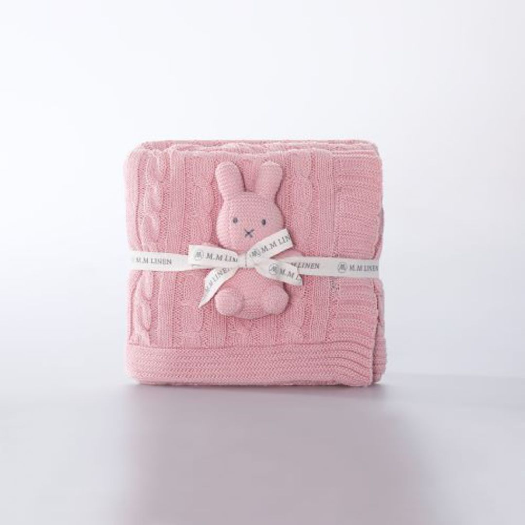 MM Linen - Bunny Baby Set - Pink and White image 1