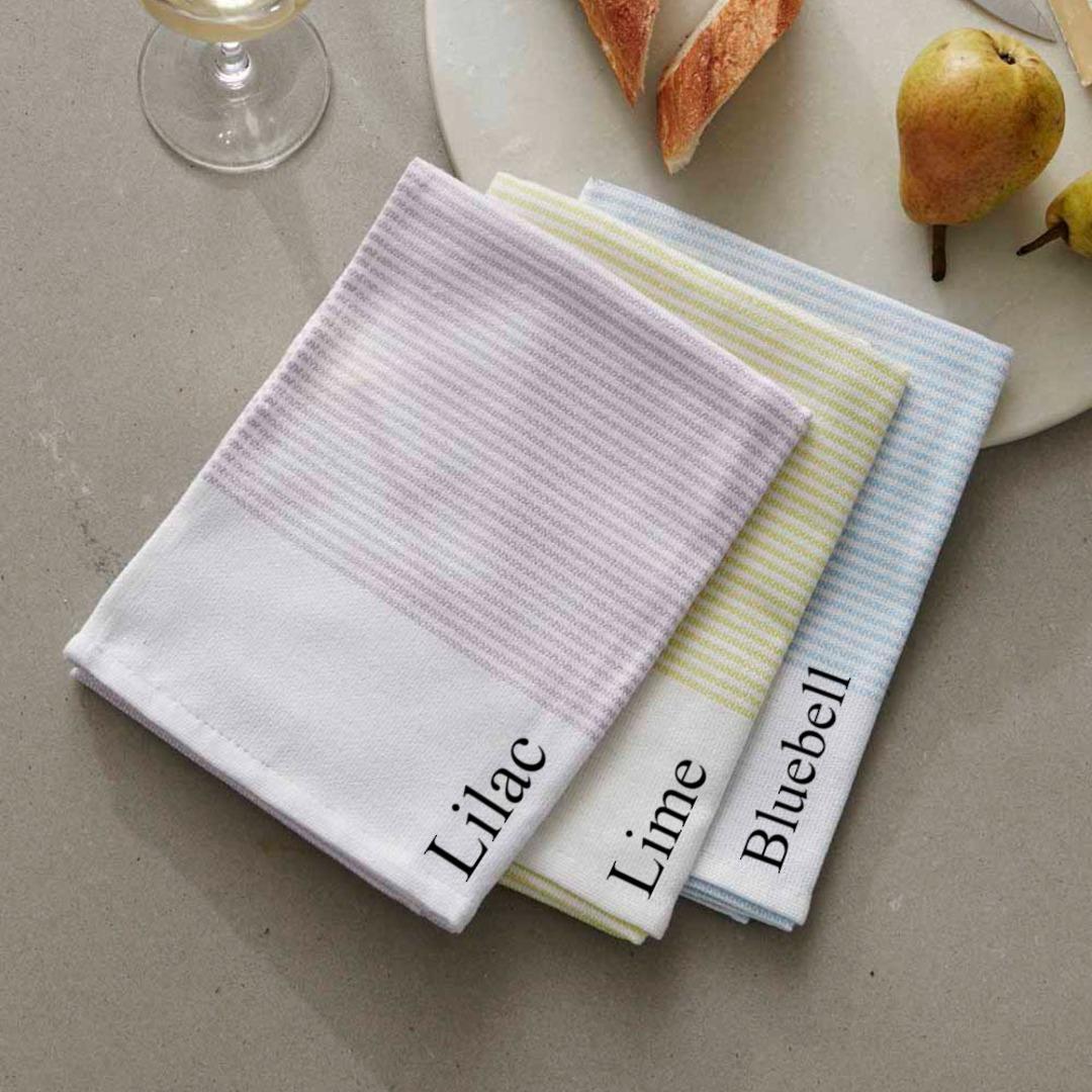 Baksana - Thirsty Tea Towels - Bluebell/Lime/Lilac image 0
