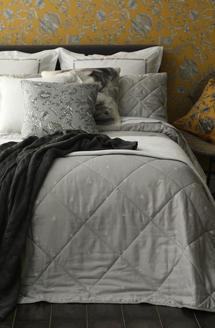 MM Linen - Bijou Quilted Bedspread Set -  Silver image 0