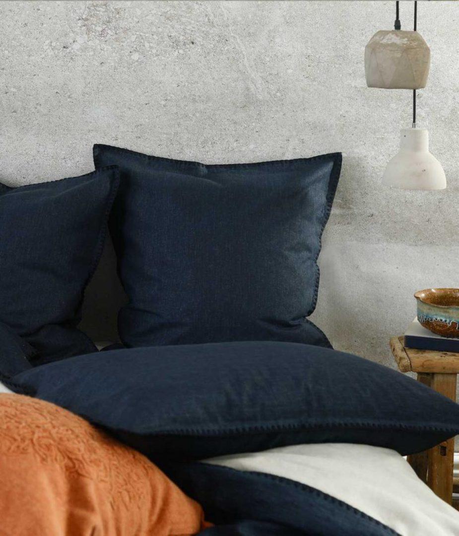 MM Linen - Stitch Duvet Set / Eurocase Set - Navy image 1