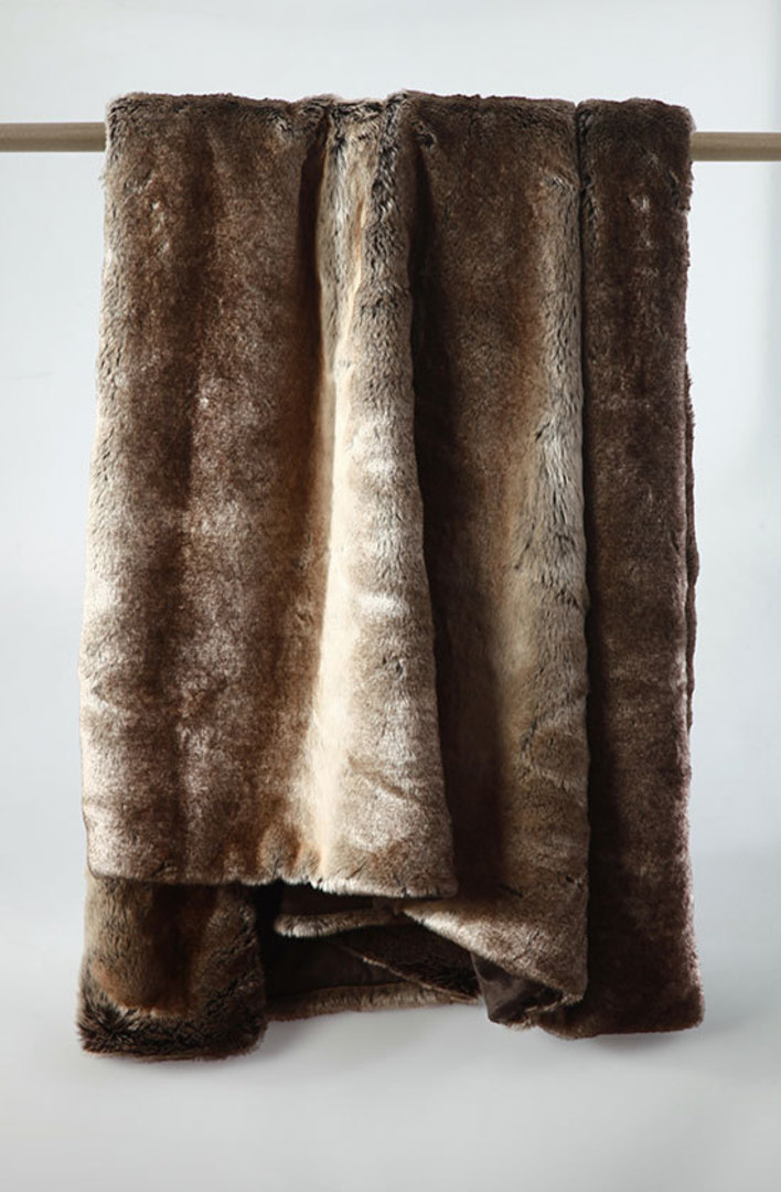 MM Linen - Snug Faux Fur Throw - Chocolate image 0