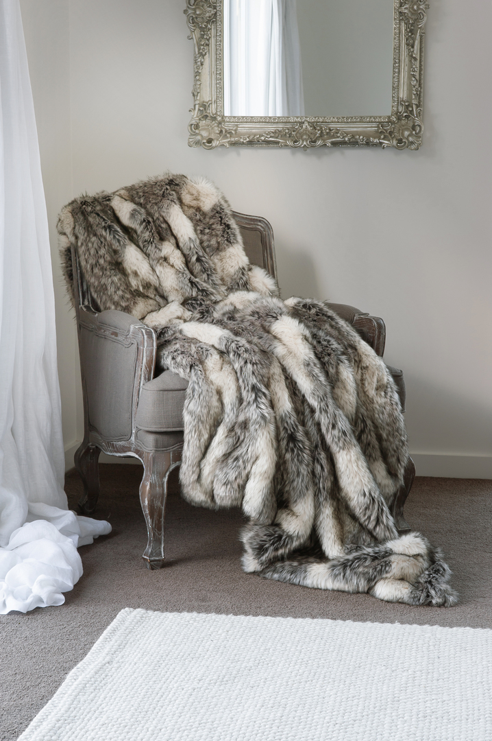 Heirloom Exotic Faux Fur Cushion / Throw - Mountain Wolf image 0