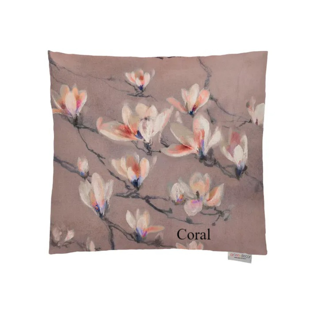 Voyage Maison - Magnolia Branch Cushion - Coral/Duckegg/Pastel image 0