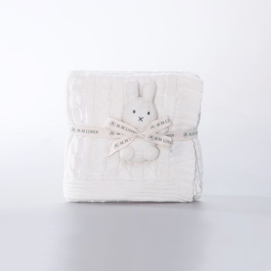 MM Linen - Bunny Baby Set - Pink and White image 2