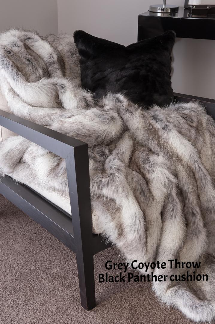 Heirloom Exotic Faux Fur Cushion / Throw -  Grey Coyote image 0