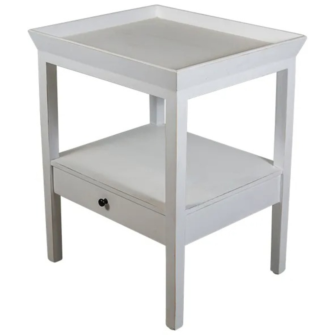 French Country - Santiago Bedside Table - White image 0