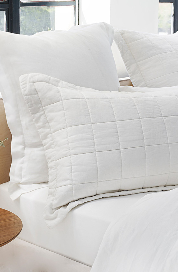 Sheridan - Abbotson White Linen Quilted Bedspread / Pillowcases/Eurocases image 2