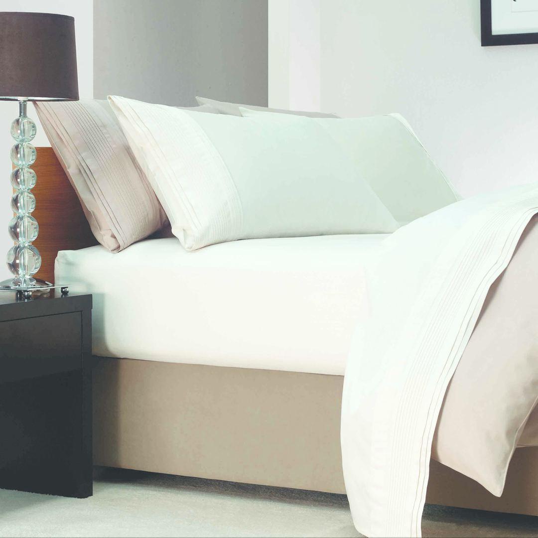 Linen House - Savona Plain Suede Bedwrap - Single - White - ON SALE image 1