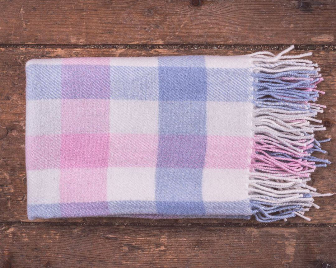 Importico - Foxford - Lambswool Throw - Multi Check Baby Throw image 1