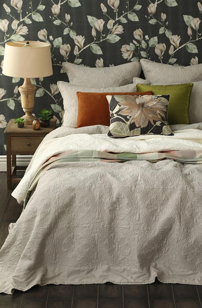 MM Linen - Carlotta Quilted Bedspread Set/ Eurocase Set - Natural image 1