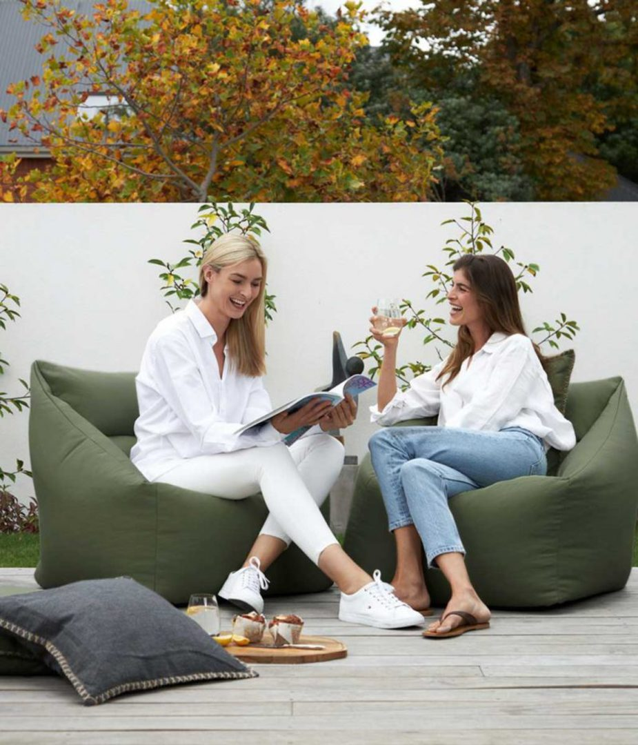 MM Linen - Kalo Olive Outdoor Bean Chair - Unfilled image 0