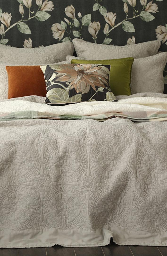 MM Linen - Carlotta Quilted Bedspread Set/ Eurocase Set - Natural image 0