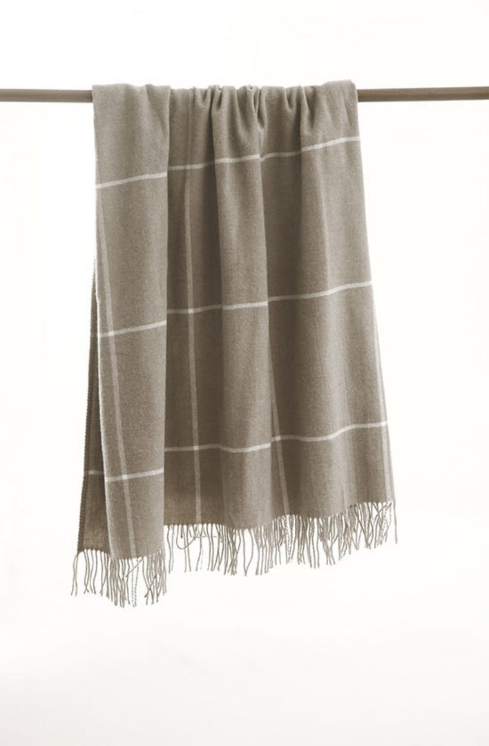 MM Linen - Darcy NZ Wool Throw - Taupe image 1