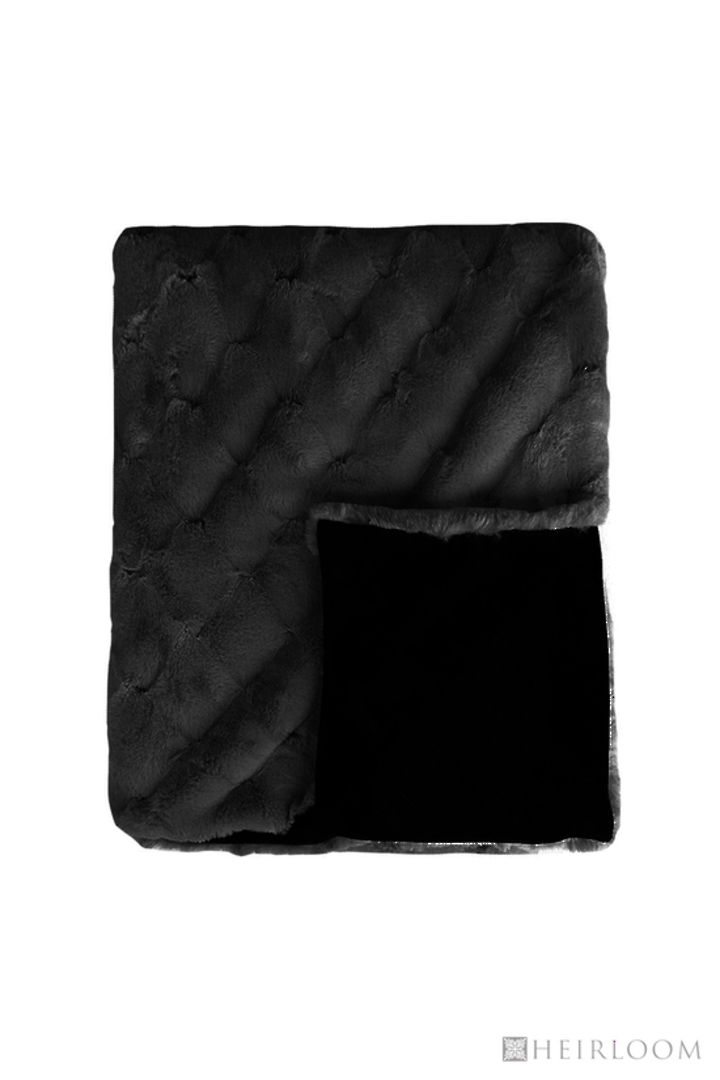 Heirloom Exotic Faux Fur -  Cushion / Throw  -  Valentina - Black image 1