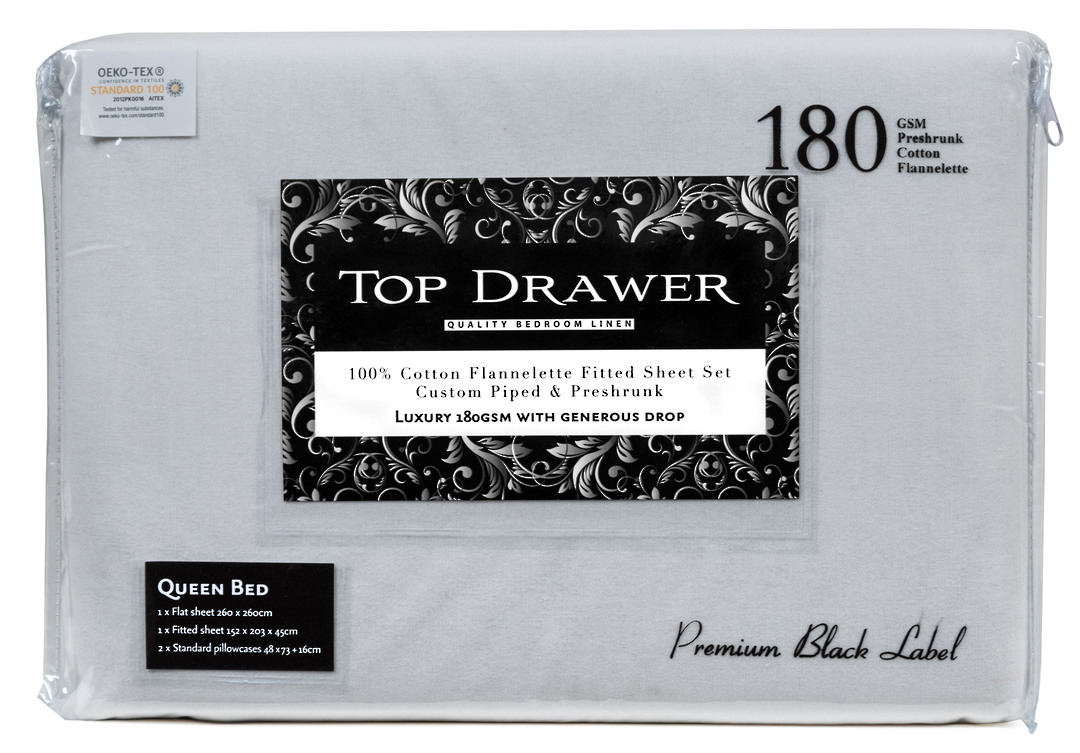 Top Drawer Flannelette Sheet Set - Silver image 0