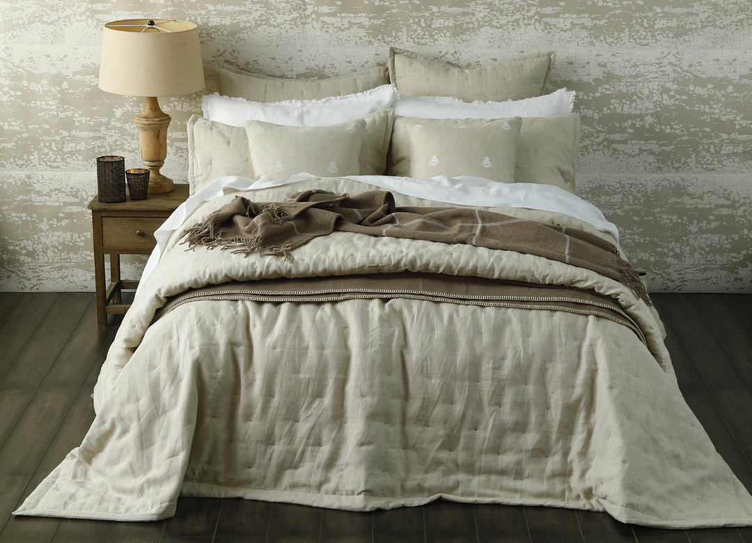 MM Linen - Laundered Linen - Quilted Eurocases - Natural image 1