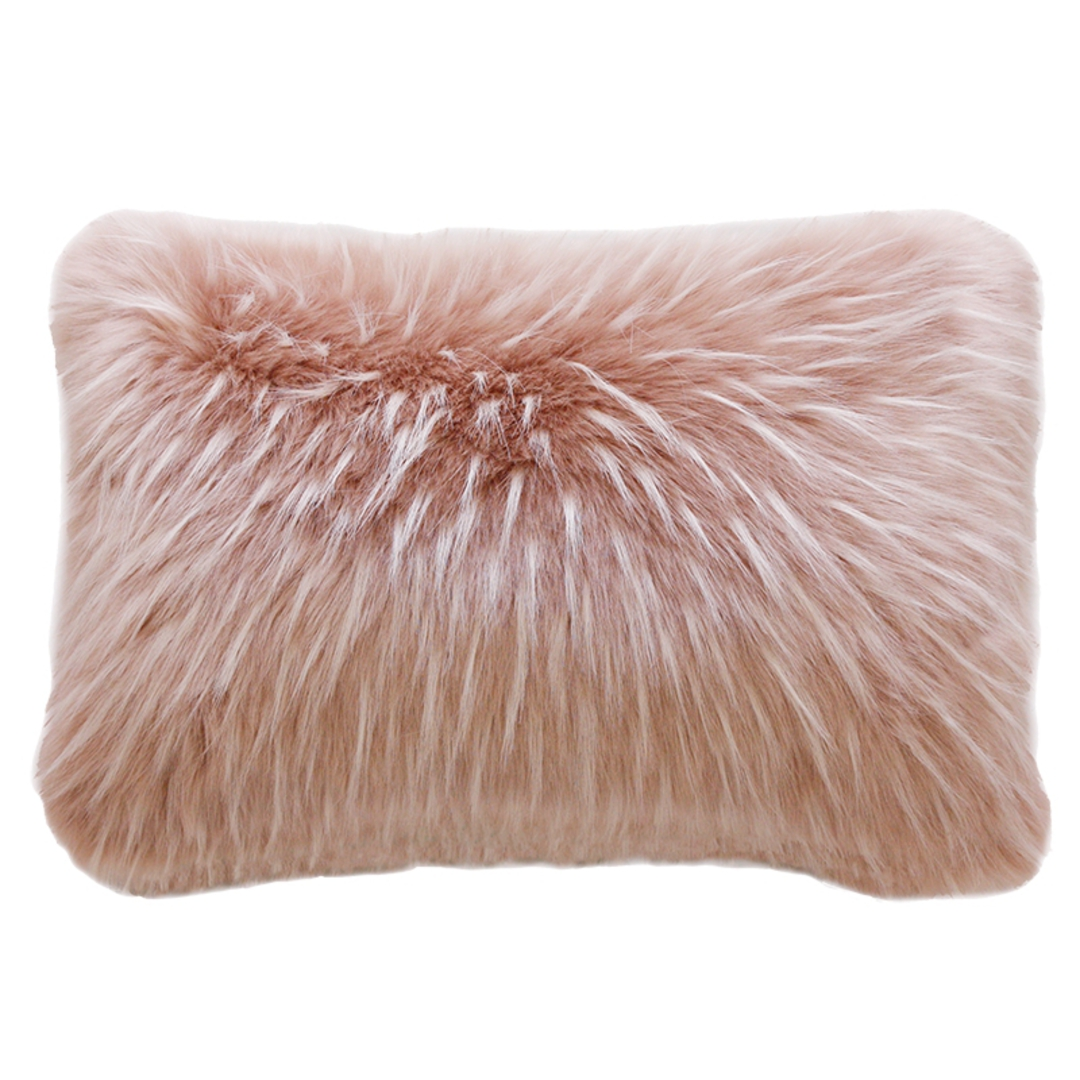 Heirloom Exotic Faux Fur Cushion / Throw - Peony Plume image 1