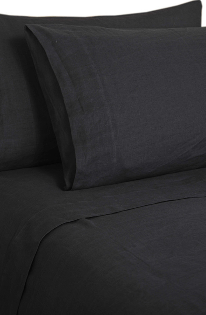 MM Linen - Laundered Linen Sheet Set - Charcoal image 0