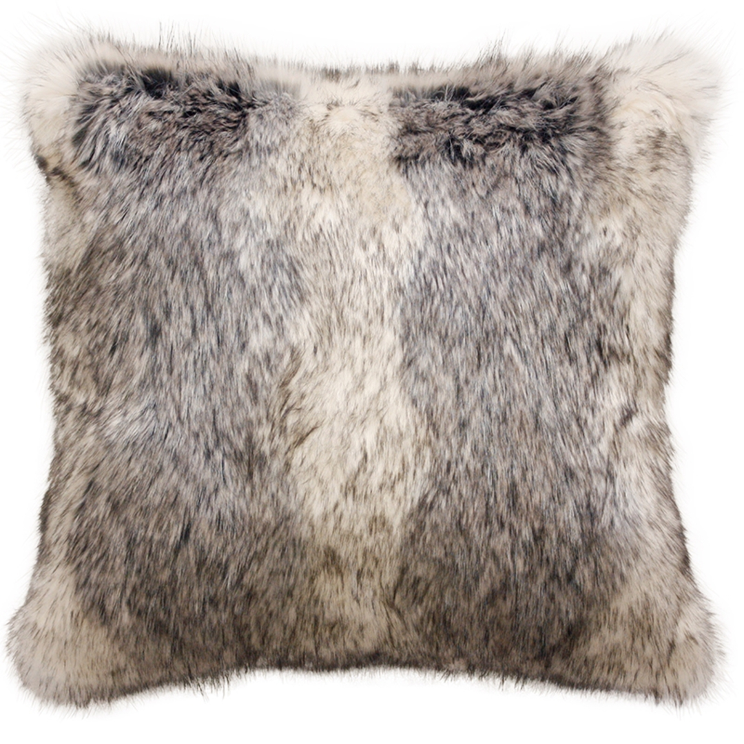 Heirloom Exotic Faux Fur Cushion / Throw - Mountain Wolf image 2